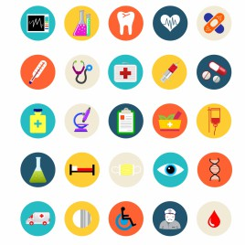 Medical and healthcare flat icons set