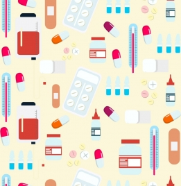medical background flat colored icons decor repeating design
