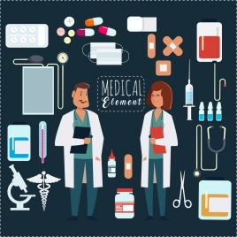 medical design elements doctors icons flat colored tools