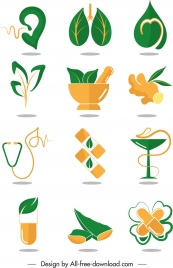 medical design elements green orange symbols sketch