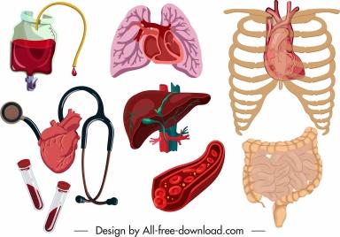 medical design elements viscera blood medical tools sketch