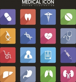 medical icons collection various colored symbol isolation