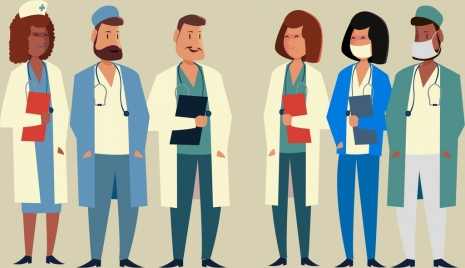 medical personnel icons various costumes design