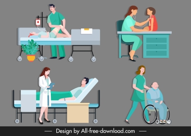 medical work icons doctor patient sketch cartoon characters