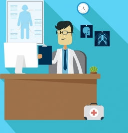medical workspace background colored cartoon design