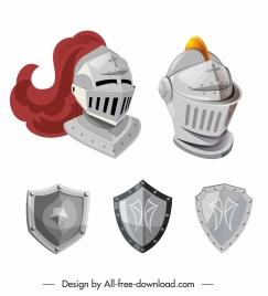 medieval armor icon shield helmet sketch