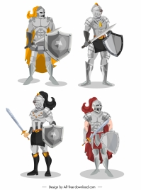 medieval armor icons shiny classical design