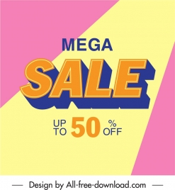 mega sale poster bright colorful texts decor
