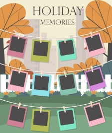 memories background hanging pictures icons colorful design