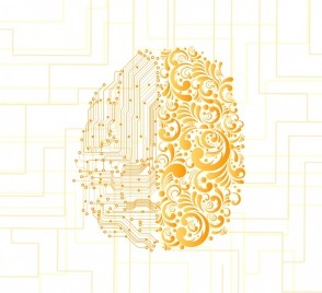 memory background brain icons golden contemporary classical design