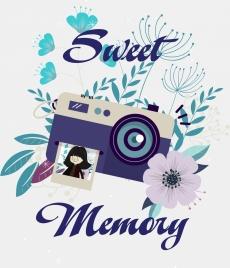 memory background flower camera icons decor