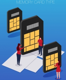 memory card advertising modern 3d design colored cartoon