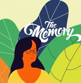 memory conceptual background girl colorful leaves decor