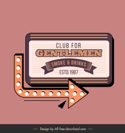 men club sign template elegant classic board arrow