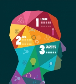 mentality infographic human head icon colorful low poly