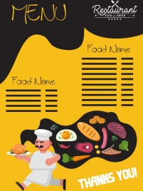 menu background cook food icons classical design