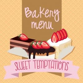 menu cover background 3d strawberry cream cake design