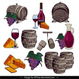 menu design elements retro barrel grape wine sketch