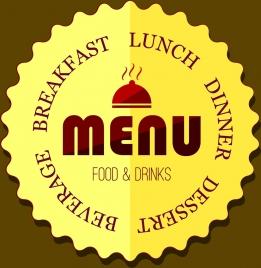 menu label design yellow serrated circle style