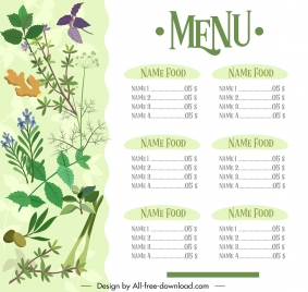 menu template bright colorful herb ingredients decor