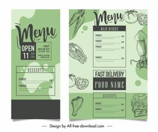 menu template classical handdrawn decor