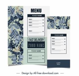 menu template elegant classical handdrawn plants decor