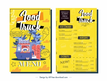 menu template food truck sketch colorful design