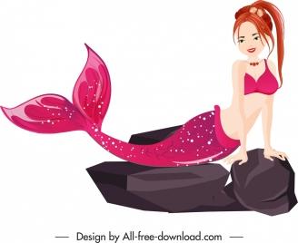 mermaid icon attractive woman sketch cartoon character