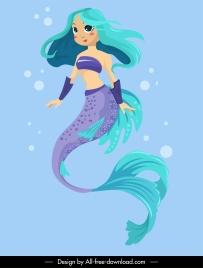 mermaid icon cute cartoon character sketch