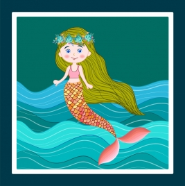 mermaid painting colored cartoon design