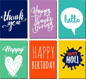 message banner sets calligraphic texts decor
