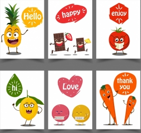 message banner templates cute fruit icons stylized design