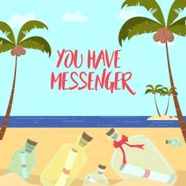 message bottles drawing seascape coconut trees decor
