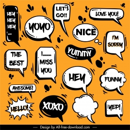 message speech bubbles icons classical dynamic handdrawn