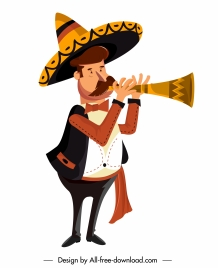 mexican man icon horn playing sketch cartoon character