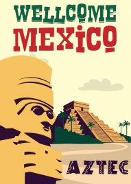 mexico advertising banner classical design antique tower icon