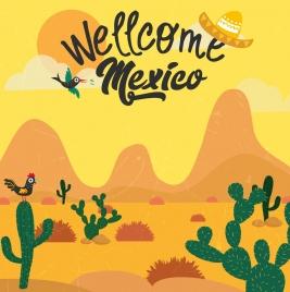mexico advertising banner desert landscape classical colored design
