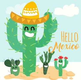 mexico advertising green cactus icons stylized style