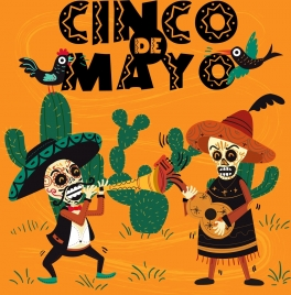 mexico advertising scary mask traditional costume cactus icons