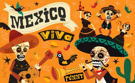 mexico background traditional costumes scary masks various symbols