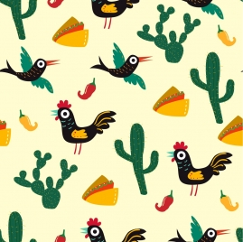 mexico background various colored symbols repeating design