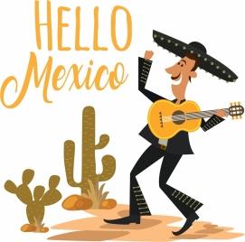 mexico banner male guitarist cactus icons calligraphic design
