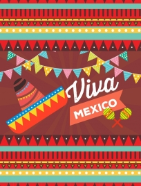 mexico decorative design elements multicolored symbols