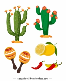 mexico design elements cacti food ingredients sketch