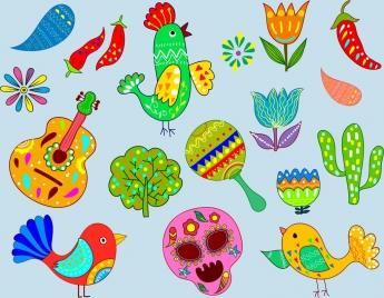 mexico design elements colorful symbols flat design