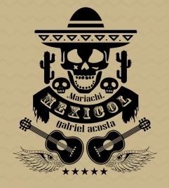 mexico design elements skull guitar icons black design