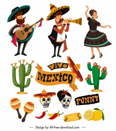 mexico design elements traditional costumes cactus food sketch
