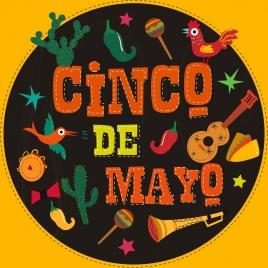 mexico design elements various colored symbols