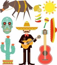 mexico design elements various multicolored symbols isolation