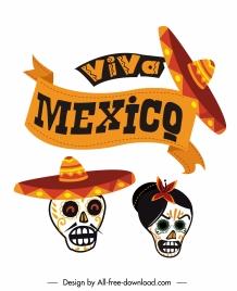 mexico festive design elements mask sombrero ribbon sketch